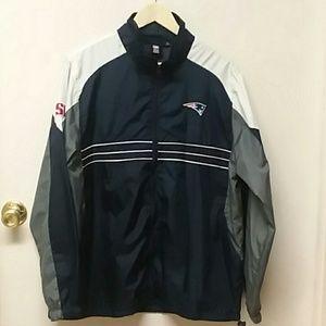 Patriots Sz L Navy Gray Windbreaker Zip Up Jacket